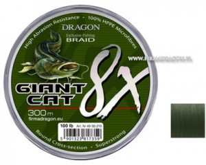 Plecionka Dragon Giant Cat 8X Braid 300m/ 150 lbs kolor ciemnozielona